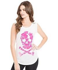 Guess Triko Floral Print Skull růžový potisk
