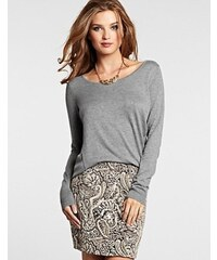 Guess Svetr Long-Sleeve Mix Scoop Sweater šedý