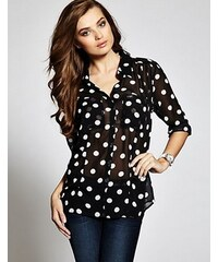 Guess Halenka Charlotte Long-Sleeve Polka-Dot Top