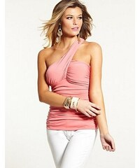 Guess Halenka One-Shoulder Shirred Top růžová