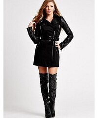Guess Kabát Long-Sleeve Quilted Trench Coat černý