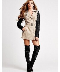 Guess Kabát Long-Sleeve Quilted Trench Coat béžový