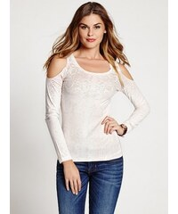 Guess Top Long-Sleeve Ombre Snake-Print Cold Shoulder Top