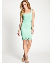 Guess Šaty Sleeveless Laser-Cut Scuba Dress zelené