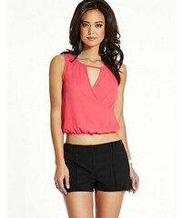 Guess Halenka Sleeveless Cross-Front Crop Top růžová