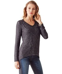 Guess Svetr Long-Sleeve V-Neck Cable-Knit-Sweater