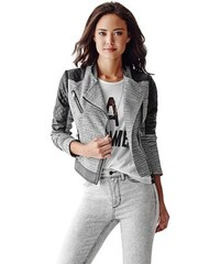 Guess Bunda Long-Sleeve Tweed And Faux-Leather Jacket