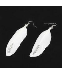 Giovanni Bertolucci Peříčkové naušnice s kamínky bílá