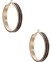 Guess Náušnice Gold-Tone Hoop Earrings with Black Glitter