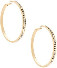 G by Guess Náušnice Large Gold Rhinestone Hoop Earrings