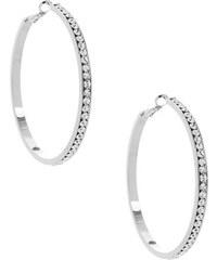 G by Guess Náušnice Large Silver Rhinestone Hoop Earrings