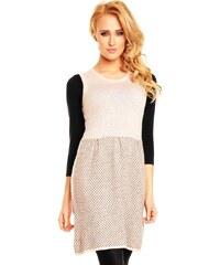 LM moda Dámské pletené šaty světlé
