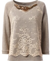 Intimissimi Sweatshirt with Lace Insert and Jewel Decorations