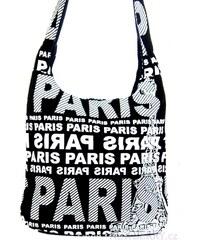 Kabelka Mahel PARIS černá (bílý potisk)