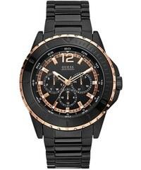 Guess Pánské hodinky Black and Rose Gold-Tone Masculine Racing Watch