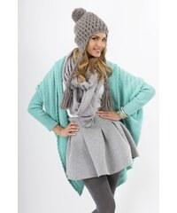 Pletený dámský kabátek Makadamia MS16 tyrkysový