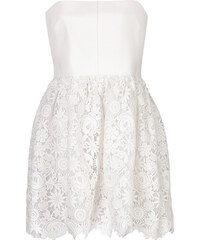 Valentino Leather/Lace Strapless Dress