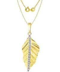 Náhrdelník ve tvaru lístku s diamanty