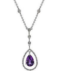 Řetízek stříbrný s přívěskem s diamanty a ametystem