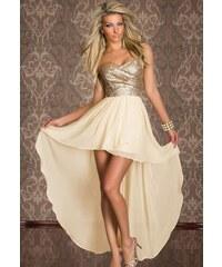 001 Společenské zlaté šaty asymetrické