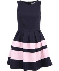 Tmavě modré šaty s růžovými pruhy Closet