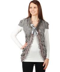 TopMode Dámské elegantní bolerko s umělou kožešinou tmavě šedá
