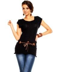 LM moda Dámská pletená tunika s páskem černá