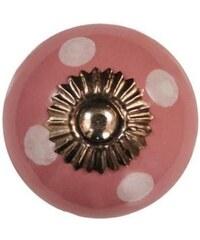 La Finesse Porcelánová úchytka Pink/white dots