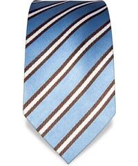 Vincenzo Boretti Modrá kravata s hnědobílým pruhem VB1554