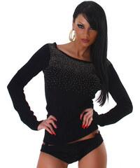 L Moda Černý svetr s perličkami