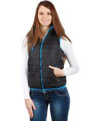 TopMode Unikátní prošívaná vesta s kapucí černá