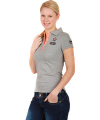 TopMode Krásné tričko s límečkem šedá