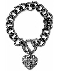 Guess Náramek Hematite-Tone Rhinestone Heart Charm Bracelet