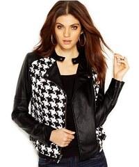 Guess Bunda Long-Sleeve Faux-Leather Houndstooth Moto Jacket