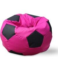 LENO Sedací vak (pytel) fotbalový míč růžovo-černý polyester