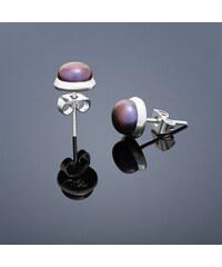 Buka Jewelry Buka Vpichovací náušnice s perlou Buka malé – fialová 207