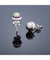Buka Jewelry Buka Vpichovací náušnice s perlou Buka malé – hnědá 204