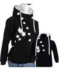 Barrsa Button + Button Kids B/W - Dámská + dětská mikina s kapucí přes hlavu