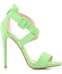 BELLE WOMEN Rozkošné zelené sandály na vysokém podpatku - YK8691GR