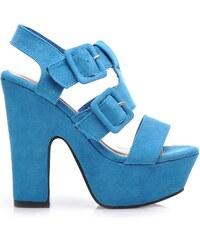 BELLE WOMEN Velkolepé modré semišové sandály - K9209BL