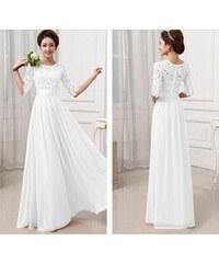 1b9a2498a42 LM moda A Bílé plesové šaty dlouhé s krajkou