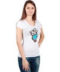 TopMode Veselé tričko se sovou bílá