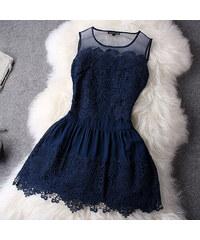 Modré krajkové šaty - koktejlky