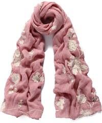 Vyšívaný šátek, šátek na krk s vyšívanými květinami INTRIGUE (1 ks skladem) rosa Dopravné zdarma!
