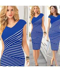 Proužkované modrobílé šaty