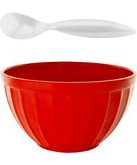 ZAK! designs - Retro miska na zmrzlinu+lžíce,set 2ks-červená/bílá, 12 cm (1647-M880)