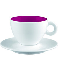 ZAK! designs - 2-barevný espresso šálek s podšálkem-bílá/malinová - melamin, 10 cl (1699-M870)