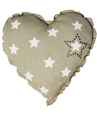 Bastion collections - Polštář srdce 45x45 natural/bílé hvězdy (AN-HEART-L403-STUD)