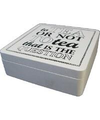 KERSTEN - Krabička na čaj dřevěná, bílá,18x18x6cm (LEV-4167)