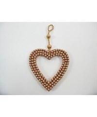KERSTEN - Vánoční ozdoba srdce, korálky, měděná, 10cm (MAS-0799)